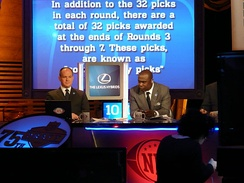 Eisen (left) and Marshall Faulk during the 2010 NFL Draft