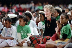 "Nancy Reagan attending a ""Just Say No"" rally with children"