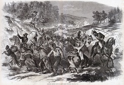 An 1862 illustration showing Confederates escorting kidnapped African American civilians south into slavery. A similar instance occurred in Pennsylvania, when the Army of Northern Virginia invaded it in 1863 to fight the U.S. at Gettysburg.[71][72][73][74]