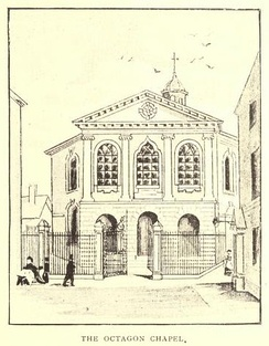 The Octagon Chapel, Liverpool, pen-and-ink sketch
