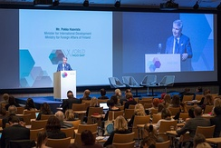 H.E. Pekka Haavisto, Minister for International Development of the Ministry for Foreign Affairs in Finland at the first World NGO Day, Helsinki, Finland in 2014