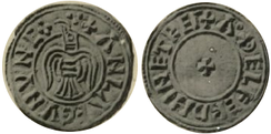 A second style of penny from York from Amlaíb's time, moneyer Æthelfrith, the obverse shows a bird, presumed to be a Raven, the reverse a cross.