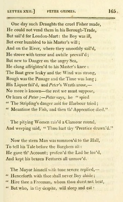 "Page from ""Peter Grimes"" in 1812 edition of Crabbe's The Borough"