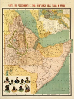 Italian possessions and spheres of influence in the Horn of Africa in 1896