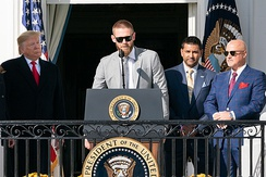 Stephen Strasburg with Dave Martinez and Mike Rizzo, meeting President Donald Trump, at the White House after the 2019 World Series Championship
