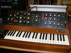 An early Minimoog synthesizer by R.A. Moog Inc. from 1970.