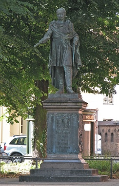Blücher monument in front of the University of Rostock's main building, created by Johann Gottfried Schadow in collaboration with Johann Wolfgang von Goethe