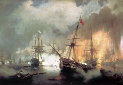 Battle of Navarino, by Ivan Aivazovsky, showing the Russian squadron, in line ahead (left-centre, white flags with blue transversal crosses) bombarding the Ottoman fleet (right, with red flags)
