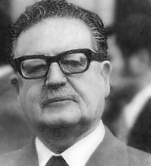 Salvador Allende, President of Chile and member of the Socialist Party of Chile, whose presidency and life were ended by a CIA-backed military coup[216]