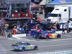 Speed pits the No. 2 Red Bull Toyota at Pocono Raceway, during the 2008 Pocono 200.