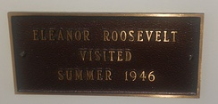 Sign inside Selbyville Public Library, commemorating former First Lady Eleanor Roosevelt's visit in 1946