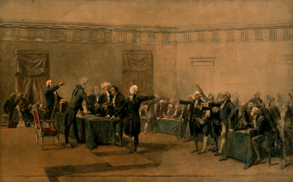The Declaration of Independence of the United States of America by Armand-Dumaresq (c. 1873) has been hanging in the White House since the late 1980s