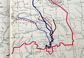 ROC's control in Kham: Light blue line on the west represents the boundary in 1912-1917, after which the ROC was pushed back to the brown line during 1918-1932. By 1945, it arrived at the dotted red line. The dark blue was the Simla Convention boundary that ROC turned down.