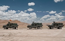 A convoy of Spanish Army vehicles.