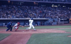 Steve Garvey at bat in the mid-1970s against Cincinnati, in Dodger Stadium