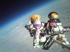 Teddy bears lifted to 30,085 metres above sea level on a helium balloon in a materials experiment by CU Spaceflight and SPARKS science club. Each of the bears wore a different space suit designed by 11- to 13-year-olds from SPARKS.