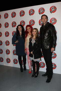 The final four contestants: Karise Eden, Sarah De Bono, Rachael Leahcar, and Darren Percival.