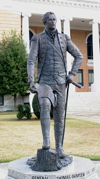 Statue of Thomas Sumter on the courthouse lawn in Sumter