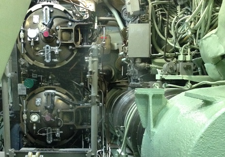 Submarine torpedo tube breech doors of USS Nautilus in their closed position