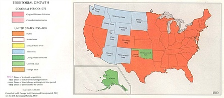 Map of the United States, 1870–80. Orange indicates statehood, light blue territories, and green unorganized territories