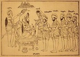A depiction of Guru Gobind Singh initiating the first five members of the Khalsa