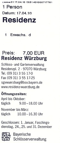 German admission ticket for Würzburg Residence (2010)