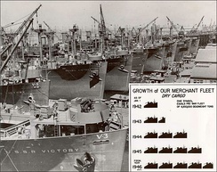 Calship fitting out its first Victory ships, c. early 1944