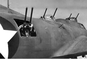 Close-up of the array of .50-caliber guns on the Boeing YB-40 Flying Fortress.