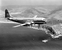 115th Air Transport Squadron C-97C Stratofreighter 50-700 along the California coastline, 1962.