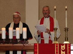 Bishop John M. Quinn of the Roman Catholic Diocese of Winona and Bishop Steven Delzer of Evangelical Lutheran Southeastern Minnesota Synod leading a Reformation Day service in 2017