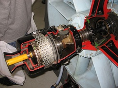 Cutaway view of an air-start motor of a General Electric J79 turbojet