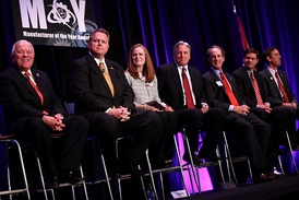 Candidates for Governor speaking at a forum hosted by the Arizona Chamber of Commerce and Industry. From left to right: Al Melvin, Scott Smith,  Christine Jones, Fred DuVal, Frank Riggs, Doug Ducey and Ken Bennett.