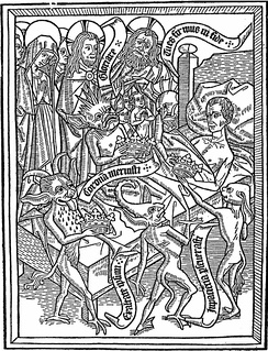 Pride of the spirit is one of the five temptations of the dying man, according to Ars moriendi. Here, demons tempt the dying man with crowns (a medieval allegory to earthly pride) under the disapproving gaze of Mary, Christ and God. Woodblock seven (4a) of eleven, Netherlands, circa 1460.