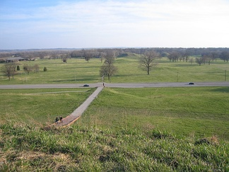 Looking over the Cahokia Mounds site from the top of Monks Mound