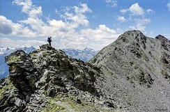 Hiking on an arête, Ötztal Alps, Austria. An example of a hiking route that involves sure-footedness, and a head for heights