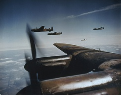 Avro Lancasters of No. 50 Squadron fitted with exhaust shrouds intended to conceal exhaust flames from night fighters