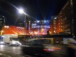 The exterior of Television Centre pictured during the live broadcast of the 2008 edition of the Children in Need telethon on 14 November 2008