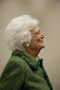 Former First Lady Barbara Bush at the LBJ Presidential Library in 2012