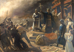 Danish Bishop Absalon destroys the idol of Slavic god Svantevit at Arkona in a painting by Laurits Tuxen