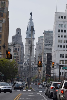 Image of City Hall from North Broad Street showing the new lighting masts. The lighting masts begin a block south of Spring Garden Street and move north.