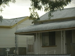 Broken Hill houses with walls of corrugated iron, built ca. 1890s and 1900s