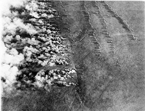 Aerial photograph of a German gas attack on the Eastern Front of World War I. Lethal poison gas was first introduced by Germany and subsequently utilized by the other major belligerents in violation of the Hague Convention IV of 1907