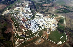 Aerial photo of Camp Bondsteel, the main base of the United States Army under KFOR command in Kosovo
