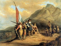 Painting of an account of the arrival of Jan van Riebeeck, by Charles Bell.