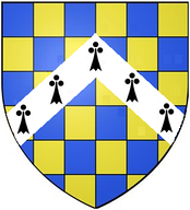 Arms of Newburgh/Beaumont Earls of Warwick, adopted c. 1200 – 1215 at start of the age of heraldry: Checky azure and or a chevron ermine[3][4]