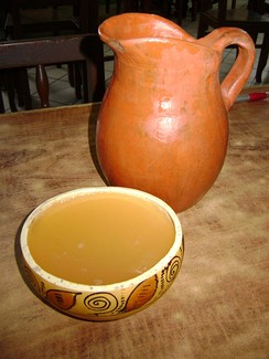 Chicha served in a vessel known as a poto, Catacaos, Peru.