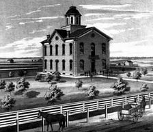 The Clark County, Missouri courthouse as it appeared circa 1878.
