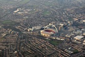 Aerial view of Wembley Stadium and its surroundings