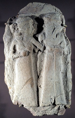Terracotta of a couple, probably Inanna and Dumuzi, Girsu, Amorite period, 2000-1600 BC. Louvre Museum AO 16676.