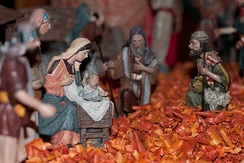 A nativity scene in France. Santons featuring the Virgin Mary.